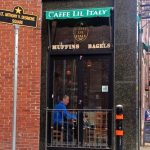 A customer relaxes at Caffe Lil Italy on Salem Street in the North End.